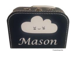 Koffertje met naam en afbeelding van wolk
