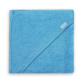Badcape licht blauw met geborduurde naam / datum