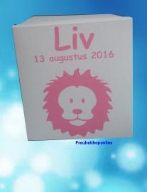 Geboortedoos/ kist ster met naam en leeuw voor alle 1e herinneringen