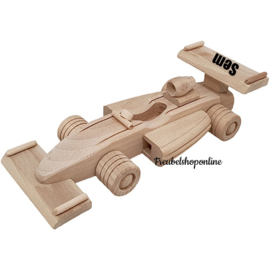 Houten Formule 1 auto | Beukenhouten F1 auto met naam