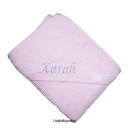 Badcape roze met geborduurde naam / datum