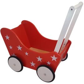 Houten poppenwagen met naam rood