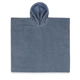 Poncho grey / blue ( evt met geborduurde naam )