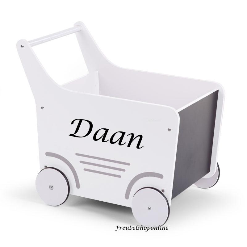 Loopwagen met naam - loopkar - wit