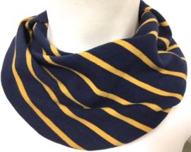 Marineblauw met okergeel streep