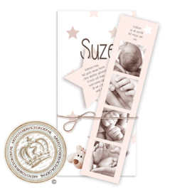 Geboortekaartje met fotostrip LG081 Pink
