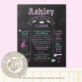 My 1st Birthday - Printable chalk board: CH064