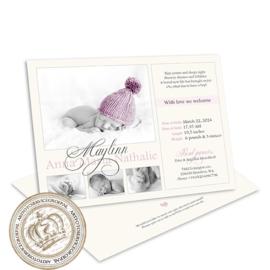 Foto geboortekaartje LG702 Pink