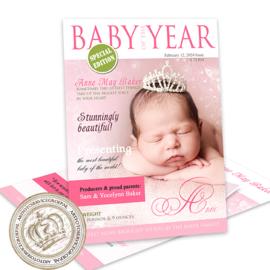 Foto Geboortekaartje LG387 Pink ( Magazine cover)