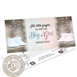Baby Gender Reveal Party Invites GR348  (pakket: 12 invites)