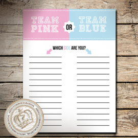 Team Pink or Blue?  (invul) hardboard poster