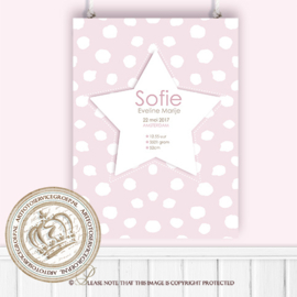 Little star- Geboortebord CH065 Pink