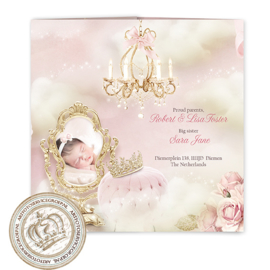 Sprookjes Geboortekaartje GB268 DD Pink