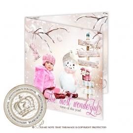 Sprookjes Kerstkaart met foto CA089 Pink