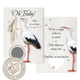 Baby Gender Reveal Party Kraskaart (pakket: 6 stuks) ENGELS  -  Boy