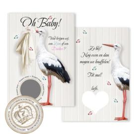 Baby Gender Reveal Party Keaskaart (pakket: 6 stuks) Nederlands - Meisje