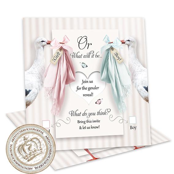 Baby Gender Reveal Party Invites GR026 (pakket: 12 invites)