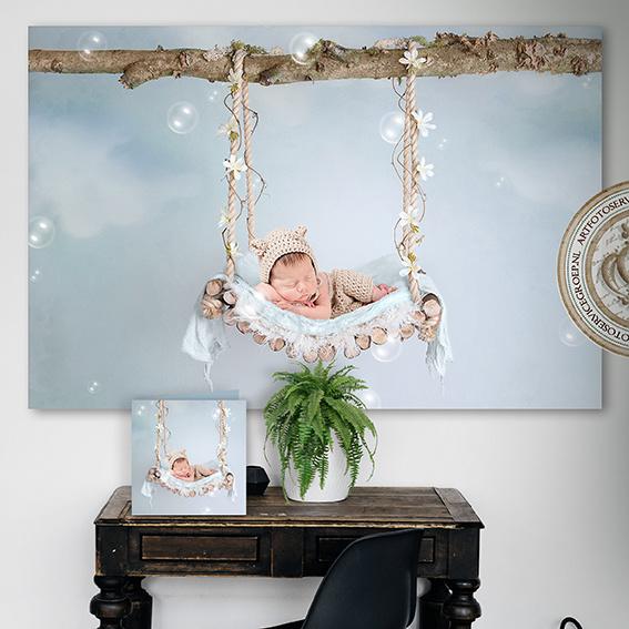 Digitale Droomfoto - The flower swing (Blue)