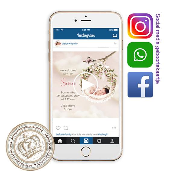 Social Media Geboortekaartje IGB238 Pink
