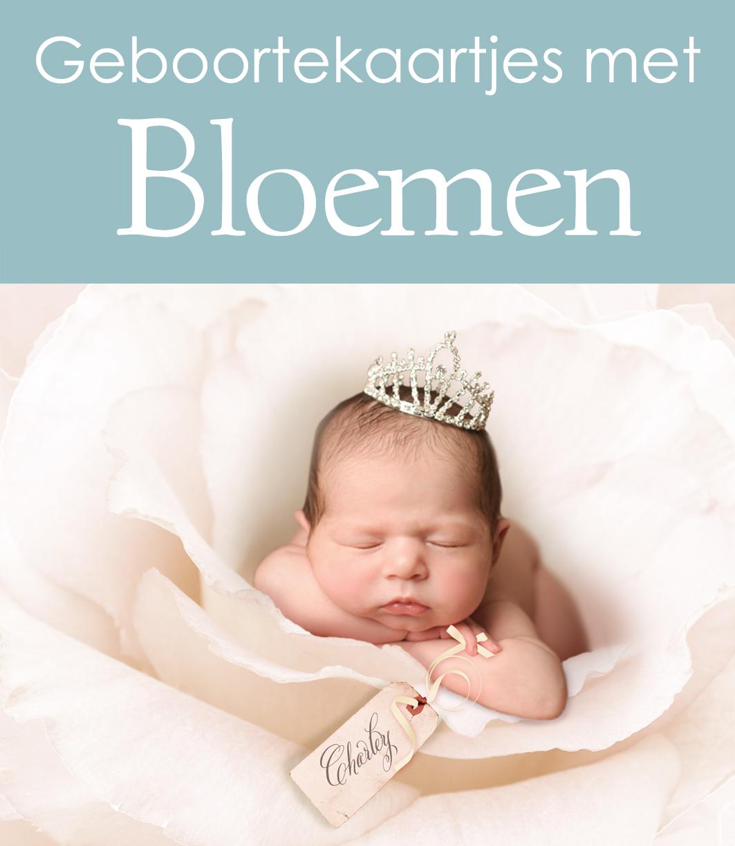 Geboortekaartjes met bloemen