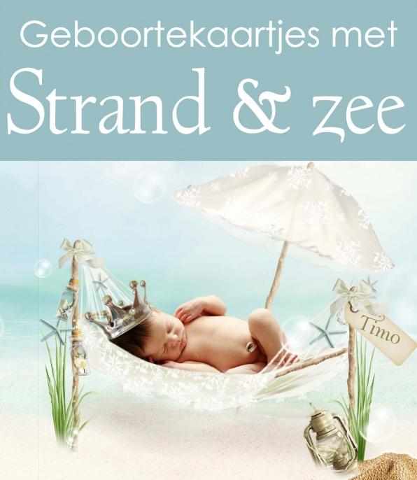 Geboortekaartjes met zee en strand