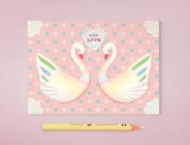 Zwanen Illustratie WITH LOVE HEART SWANS postkaart
