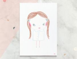Meisje  Illustratie KACY kunst poster - A4 formaat