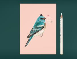 Vogel Illustratie BIRDIE IN BLUE postkaart
