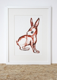 Konijn Illustratie RABBIT FROM THE FOREST zeefdruk in oplage - A4 formaat