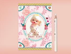 BABY GIRL SWEETHEART meisje geboorte postkaart