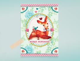 HAPPY BIRTHDAY DEER hertje postkaart verjaardag