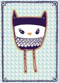 Uil Illustratie BLUE OWL postkaart
