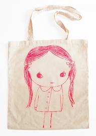 Meisje Illustratie KACY katoenen shopper tas - NEON