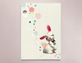 Konijn Illustratie CONFETTI BUNNY kinderkamer poster - A4 formaat