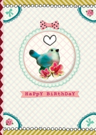 Happy Birthday BLUE BIRD wenskaart met vogel button