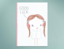 Meisje Illustratie GOOD LUCK KACY wenskaart