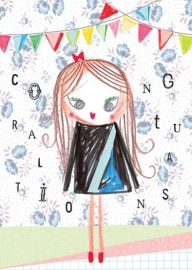Meisje Illustratie CONGRATULATIONS GIRL postkaart