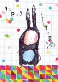 Konijn Illustratie HAPPY BIRTHDAY RABBIT postkaart