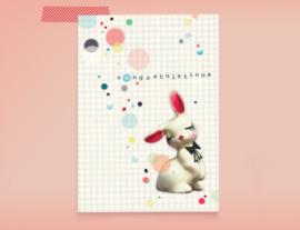 Congratulations CONFETTI BUNNY postkaart
