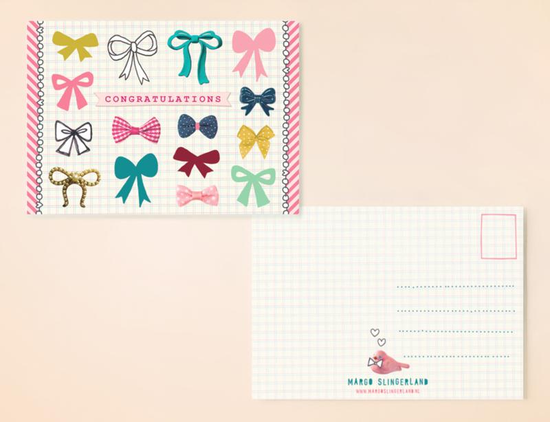 CONGRATULATIONS BOWS strikjes dessin postkaart