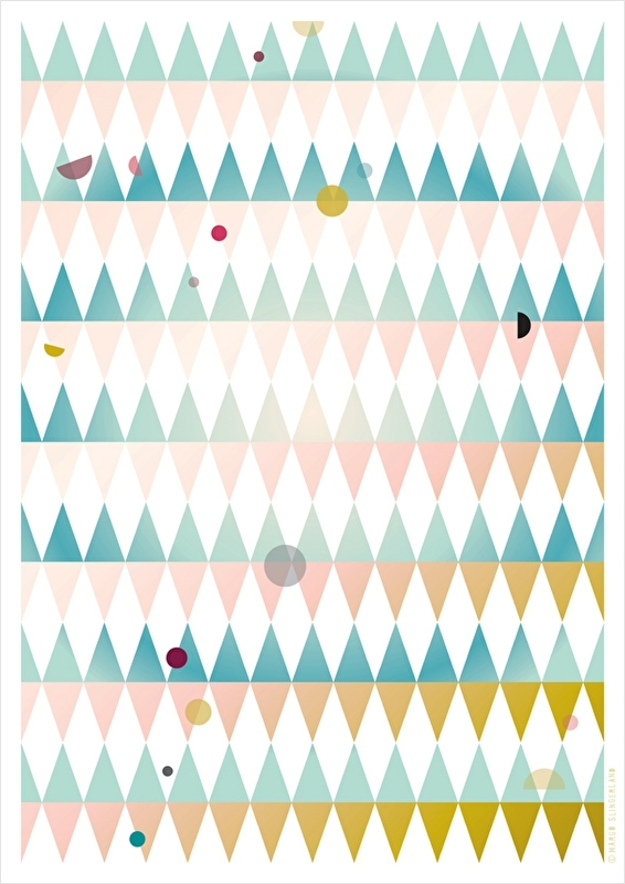 Grafisch dessin poster DOTS AND TRIANGLES - BLUE - A3 formaat