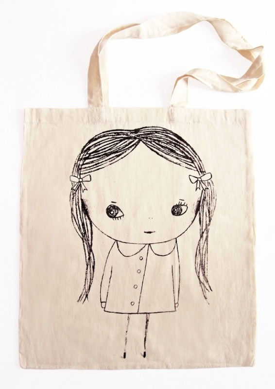 Meisje Illustratie KACY katoenen shopper tas - BLACK