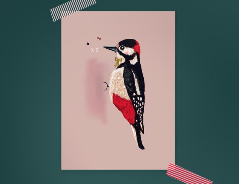 Specht Illustratie WOODPECKER BIRDIE vogel postkaart