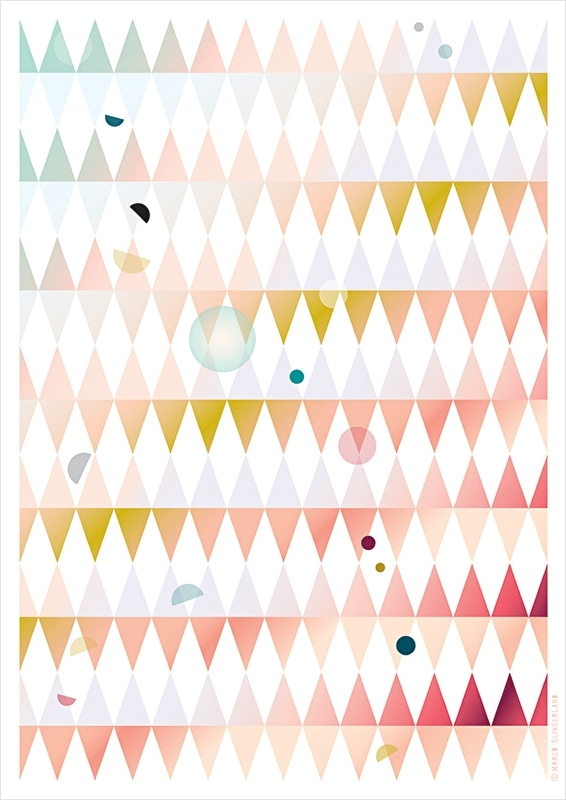 Grafisch dessin poster DOTS AND TRIANGLES - PINK - A3 formaat