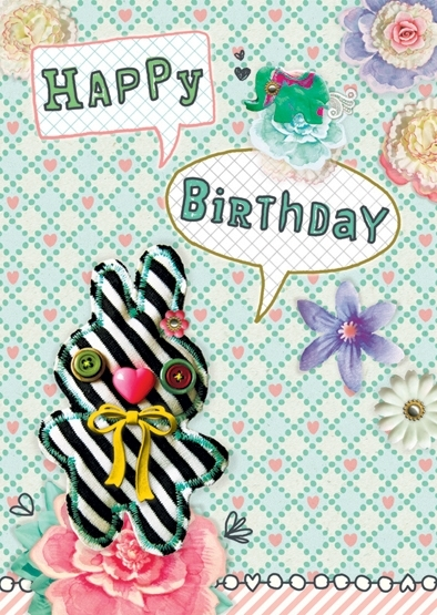 Konijn Illustratie HAPPY BIRTHDAY BUNNY postkaart