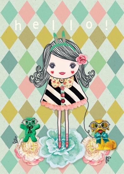 Meisje Illustratie HELLO GIRL  postkaart