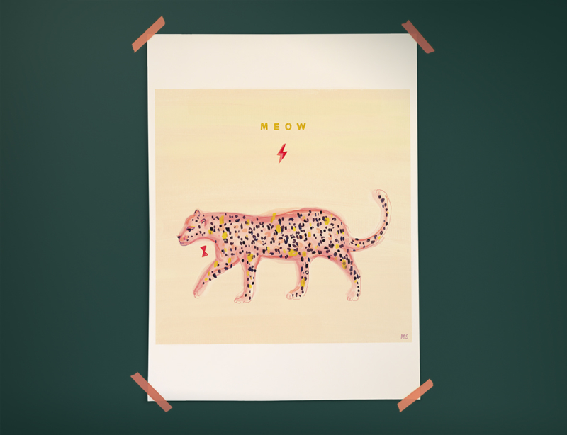 Luipaard Illustratie POWER MEOW LEOPARD poster