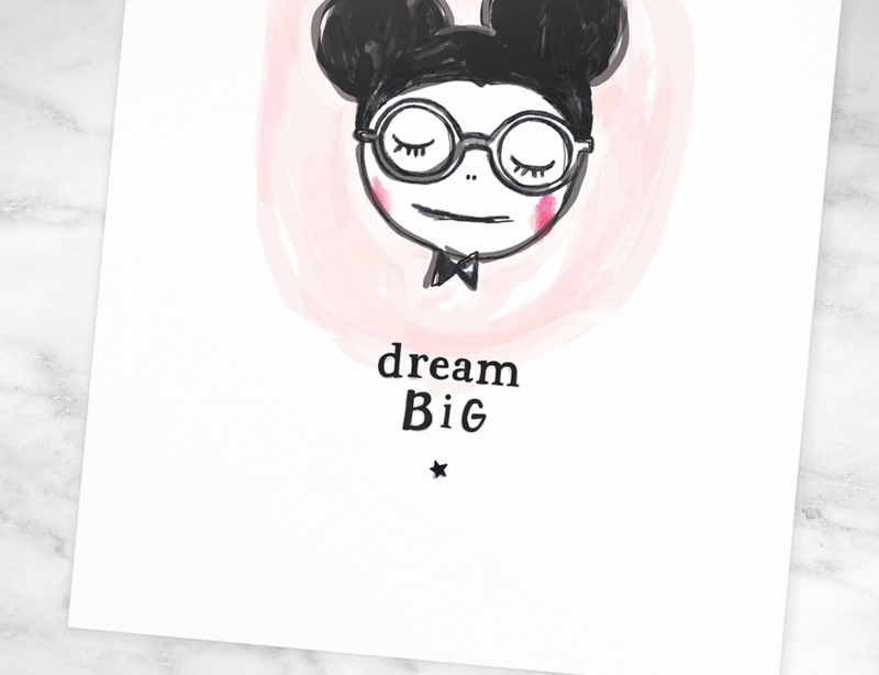 Muis Illustratie DREAM BIG MOUSE quote poster - A4 formaat