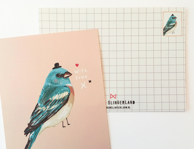 Vogel Illustratie BIRDIE IN BLUE postkaart