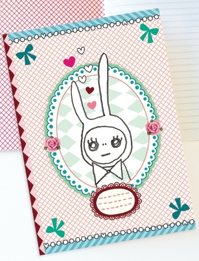 Konijn Illustratie RABBIT IN LOVE schrift met lijntjes
